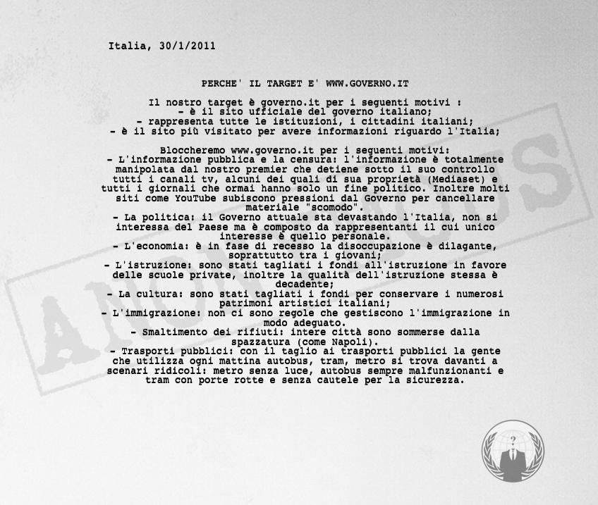 Esclusiva anonymous alle 15 di oggi bloccheremo il sito for Composizione del parlamento italiano oggi