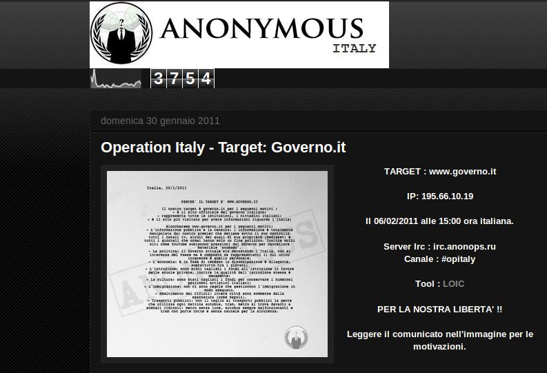 Esclusiva anonymous alle 15 di oggi bloccheremo il sito for Sito governo italiano