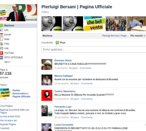 Pagina Facebook Bersani